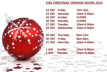 CHQ Christmas Opening Hours 2016