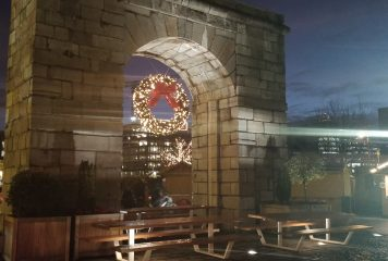 Georges Dock Arch in lights