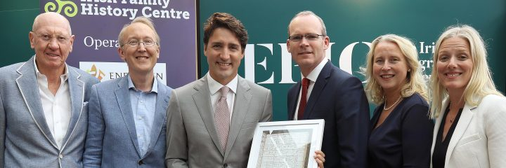 Canadian Prime Minister Mr Trudeau meeting Neville Isdell when visiting EPIC The Irish Emigration Museum